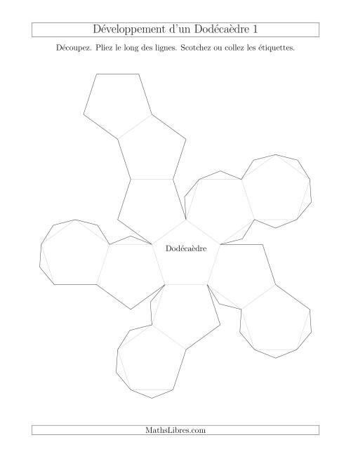 La Développement d'un Dodécaèdre Version 1 Fiche d'Exercices sur la Géométrie