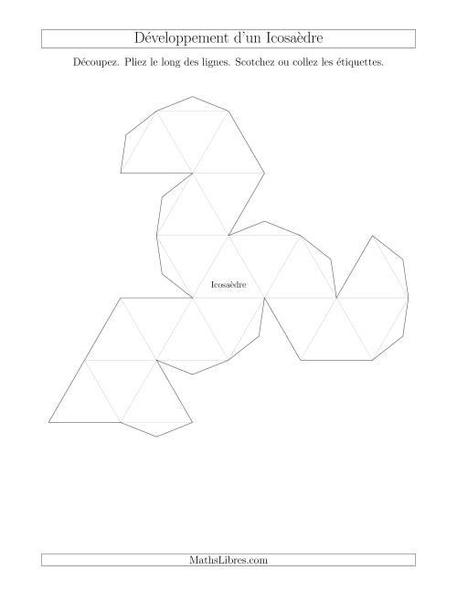 La Développement d'un Icosaèdre Fiche d'Exercices sur la Géométrie