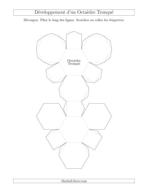La Développement d'un Octaèdre Tronqué Fiche d'Exercices sur la Géométrie
