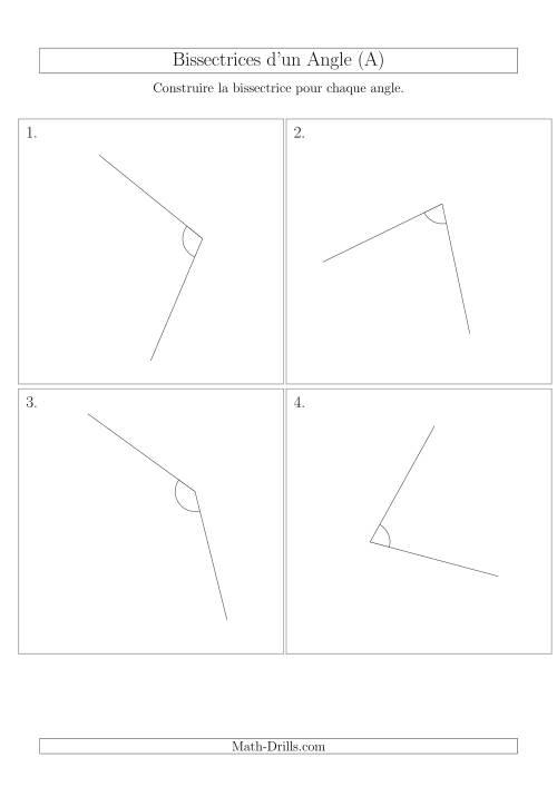 La Bissectrices d'un Angle (Avec des Angles Tournés Aléatoirement) (A) Fiche d'Exercices sur la Géométrie