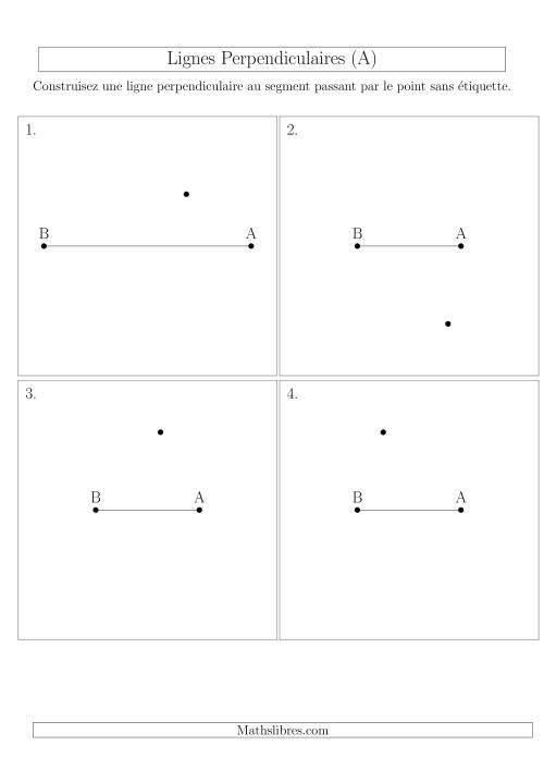 La Construction de Lignes Perpendiculaires avec des Points Hors de la ligne (A) Fiche d'Exercices sur la Géométrie