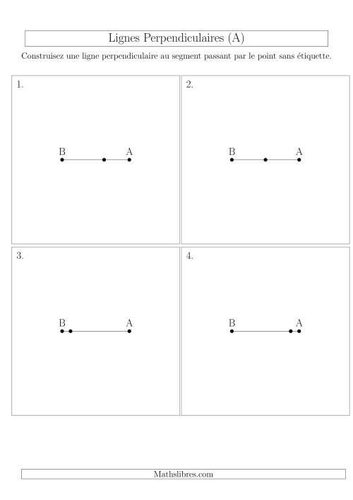 La Construction de Lignes Perpendiculaires à travers des Points sur la ligne (A) Fiche d'Exercices sur la Géométrie