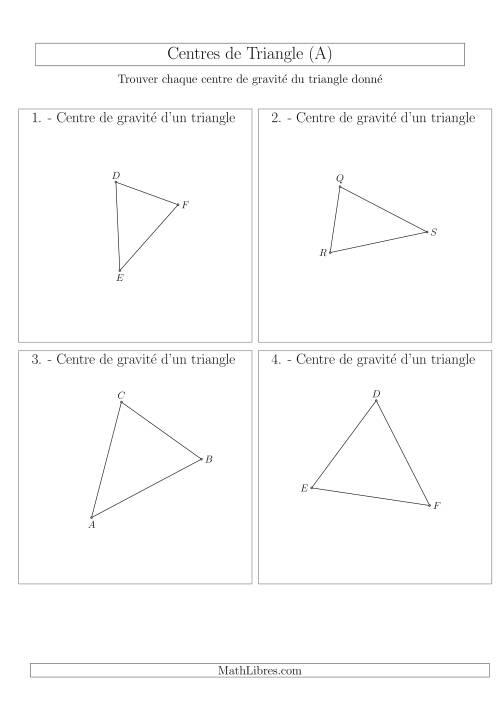 La Centres de Gravité des Triangles Aiguës (A) Fiche d'Exercices sur la Géométrie