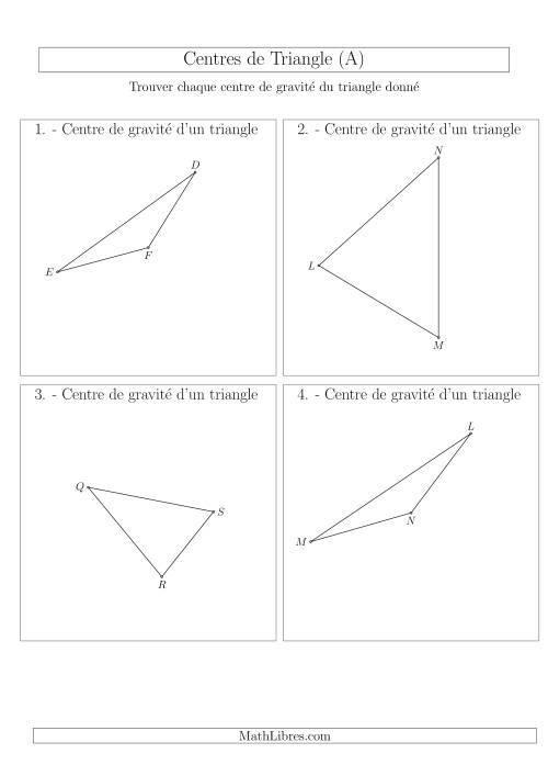 La Centres de Gravité des Triangles Aiguës et Obtus (A) Fiche d'Exercices sur la Géométrie