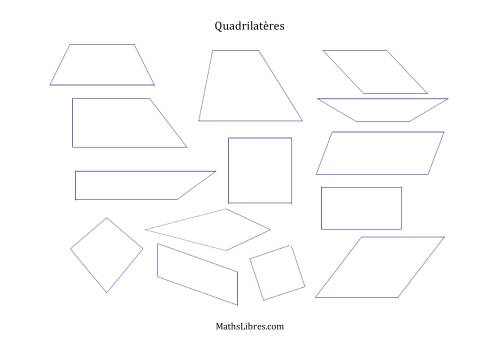 La Ensemble de quadrilatères Fiche d'Exercices sur la Géométrie