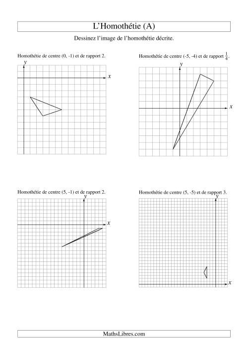La Homothéties de figures à 3 sommets (A) Fiche d'Exercices sur la Géométrie