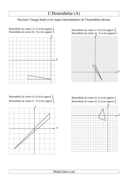 La Homothéties de figures à 3 sommets -- 2 étapes (A) Fiche d'Exercices sur la Géométrie
