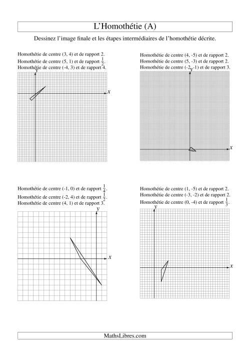 La Homothéties de figures à 3 sommets -- 3 étapes (A) Fiche d'Exercices sur la Géométrie