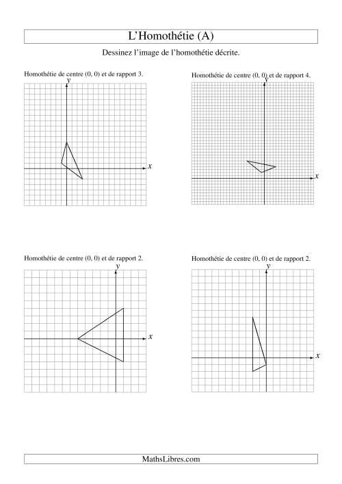 La Homothéties de figures à 3 sommets par rapport à l'origine (A) Fiche d'Exercices sur la Géométrie