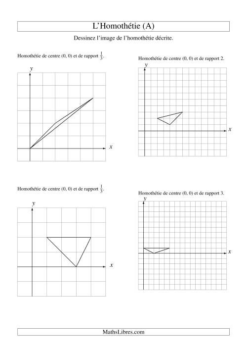 La Homothéties de figures à 3 sommets par rapport à l'origine -- 1er quadrant (A) Fiche d'Exercices sur la Géométrie