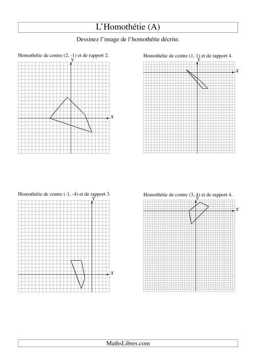La Homothéties de figures à 4 sommets (A) Fiche d'Exercices sur la Géométrie