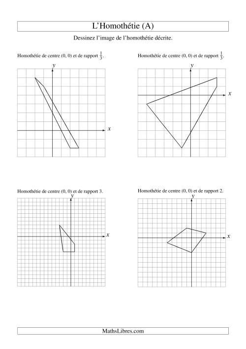 La Homothéties de figures à 4 sommets par rapport à l'origine (A) Fiche d'Exercices sur la Géométrie