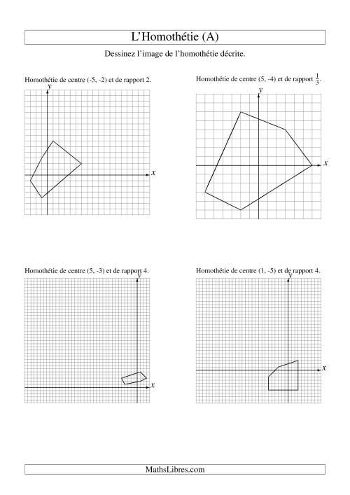 La Homothéties de figures à 5 sommets (A) Fiche d'Exercices sur la Géométrie