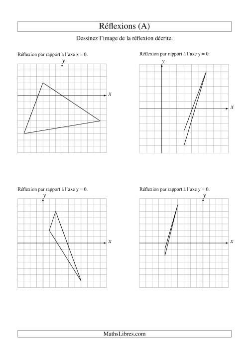 La Réflexion de figures à 3 sommets sur les axes x = 0 et y = 0 (A) Fiche d'Exercices sur la Géométrie