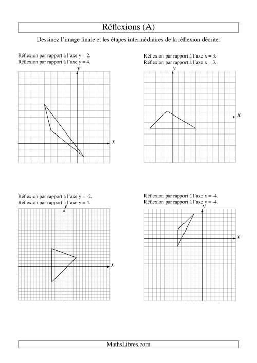 La Réflexion de figures à 3 sommets -- 2 étapes (A) Fiche d'Exercices sur la Géométrie