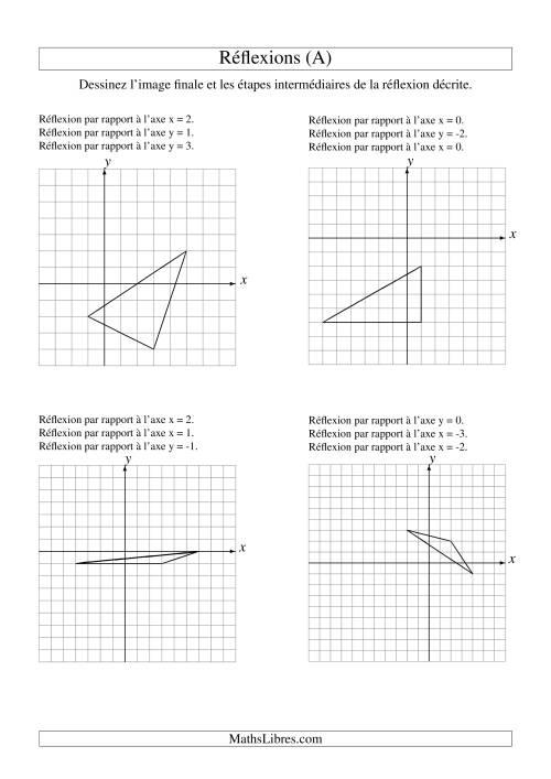 La Réflexion de figures à 3 sommets -- 3 étapes (A) Fiche d'Exercices sur la Géométrie