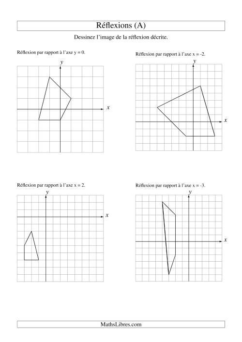 La Réflexion de figures à 4 sommets (A) Fiche d'Exercices sur la Géométrie