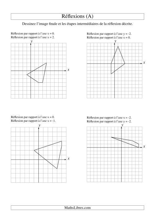 La Réflexion de figures à 4 sommets -- 2 étapes (A) Fiche d'Exercices sur la Géométrie