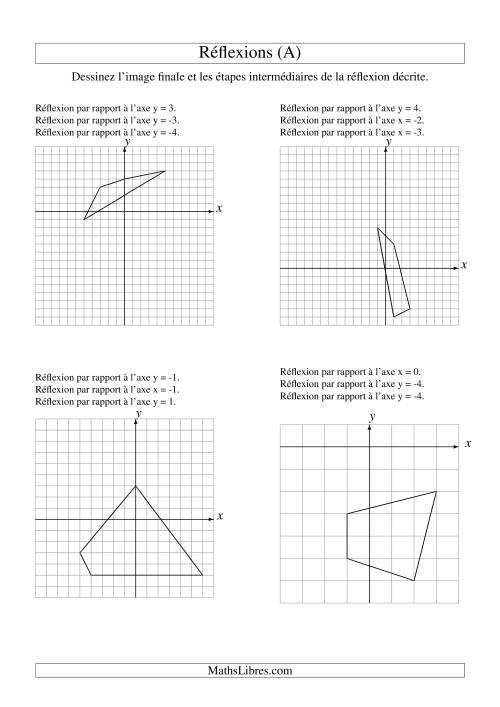 La Réflexion de figures à 4 sommets -- 3 étapes (A) Fiche d'Exercices sur la Géométrie