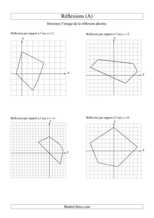 La Réflexion de figures à 5 sommets (A) Fiche d'Exercices sur la Géométrie