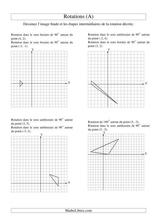 La Rotation de figures à 3 sommets -- 2 étapes (A) Fiche d'Exercices sur la Géométrie