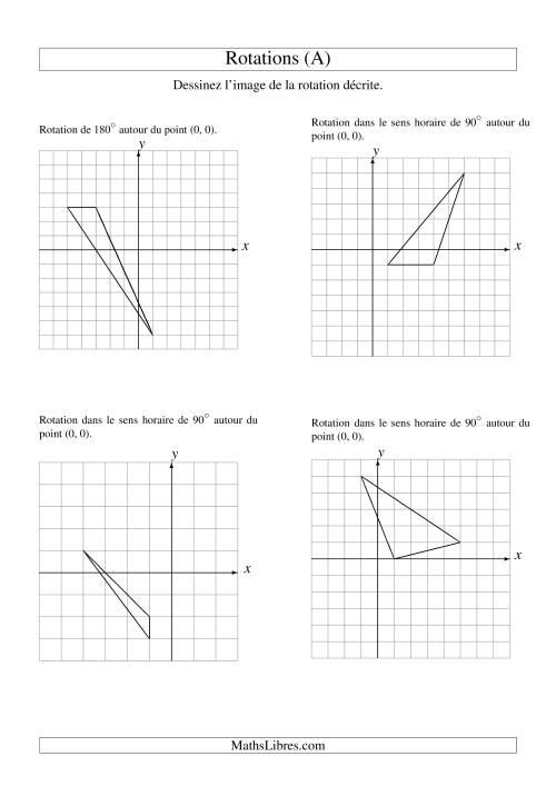 La Rotation de figures à 3 sommets par rapport à l'origine (A) Fiche d'Exercices sur la Géométrie