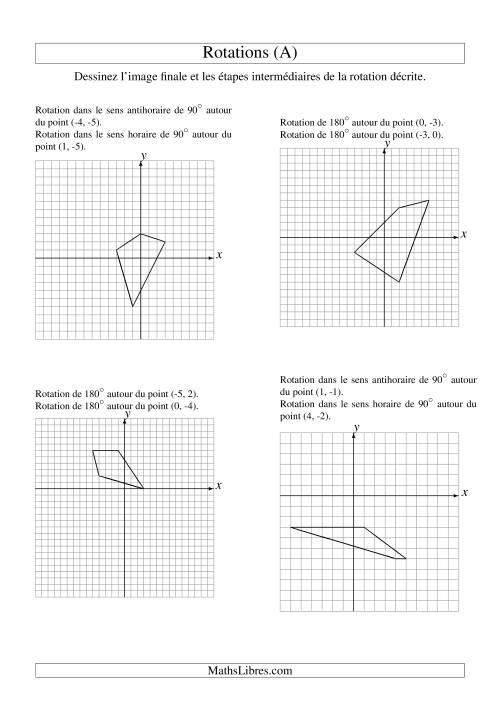 La Rotation de figures à 4 sommets -- 2 étapes (A) Fiche d'Exercices sur la Géométrie