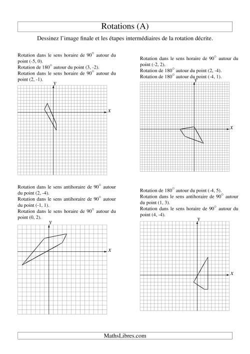 La Rotation de figures à 4 sommets -- 3 étapes (A) Fiche d'Exercices sur la Géométrie