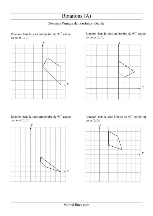 La Rotation de figures à 4 sommets par rapport à l'origine -- 1er quadrant (A) Fiche d'Exercices sur la Géométrie