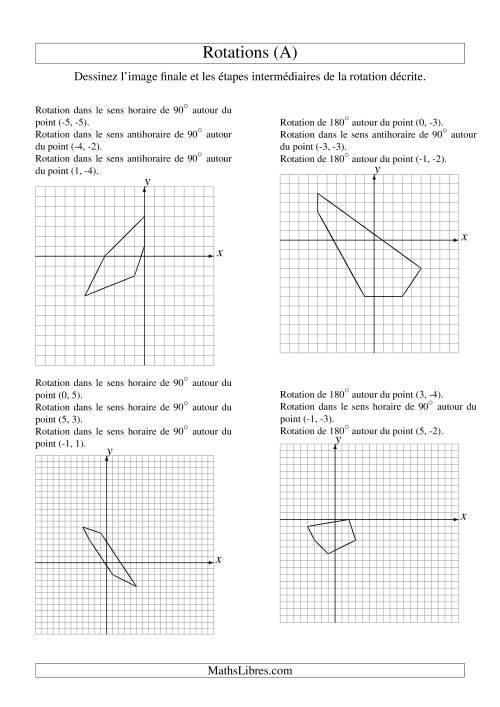 La Rotation de figures à 5 sommets -- 3 étapes (A) Fiche d'Exercices sur la Géométrie