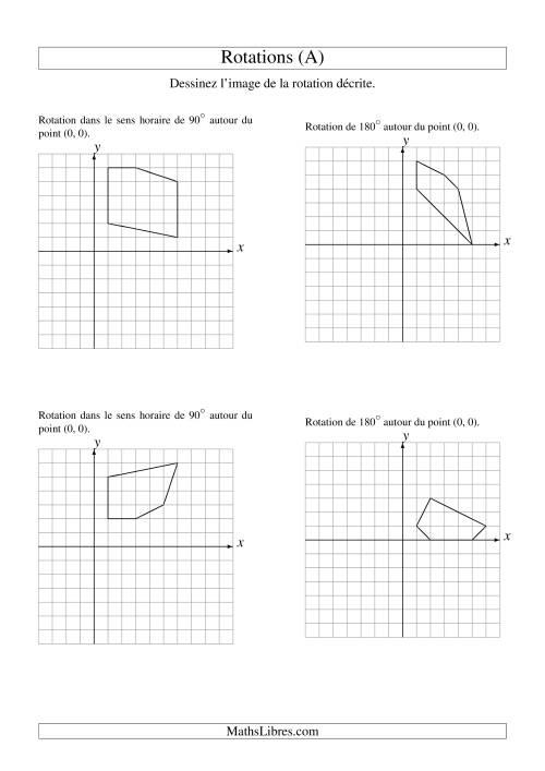 La Rotation de figures à 5 sommets autour de l'origine -- 1er quadrant (A) Fiche d'Exercices sur la Géométrie