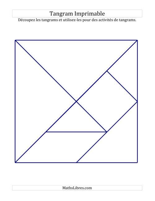 La Tangrams noir et blanc avec lignes épaisses (A) Fiche d'Exercices sur la Géométrie