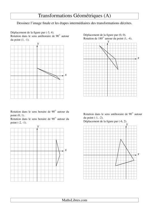 La Transformation variées -- Figures à 3 sommets -- 2 étapes (A) Fiche d'Exercices sur la Géométrie