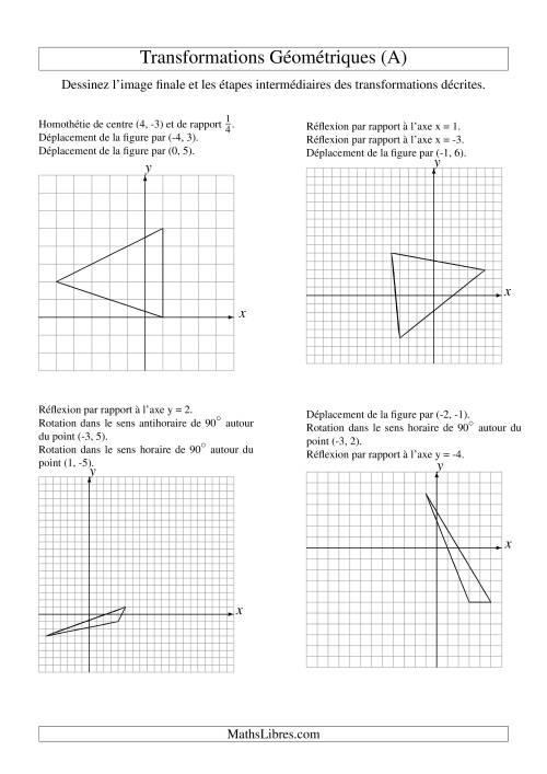 La Transformation variées -- Figures à 3 sommets -- 3 étapes (A) Fiche d'Exercices sur la Géométrie