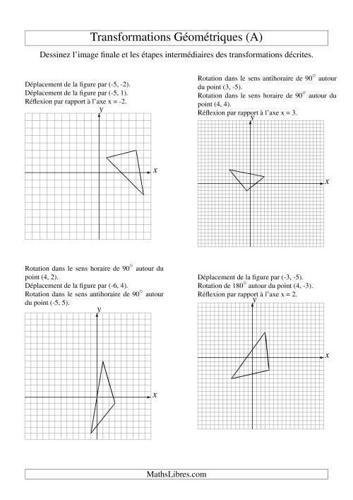 La Transformation variées (sans homothétie) -- Figures à 3 sommets -- 3 étapes (A) Fiche d'Exercices sur la Géométrie