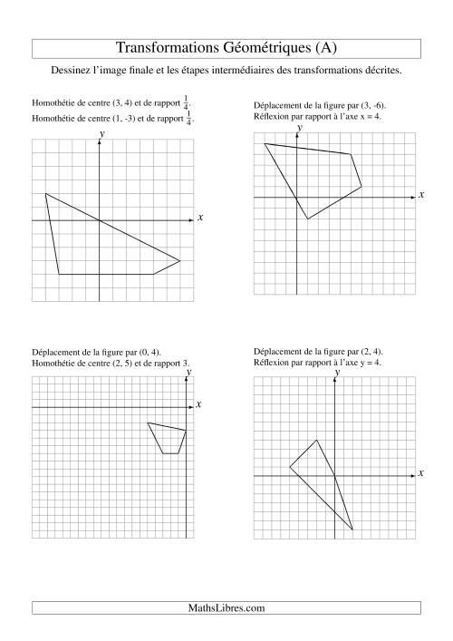 La Transformation variées -- Figures à 4 sommets -- 2 étapes (A) Fiche d'Exercices sur la Géométrie