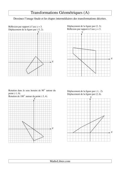La Transformation variées (sans homothétie) -- Figures à 4 sommets -- 2 étapes (A) Fiche d'Exercices sur la Géométrie