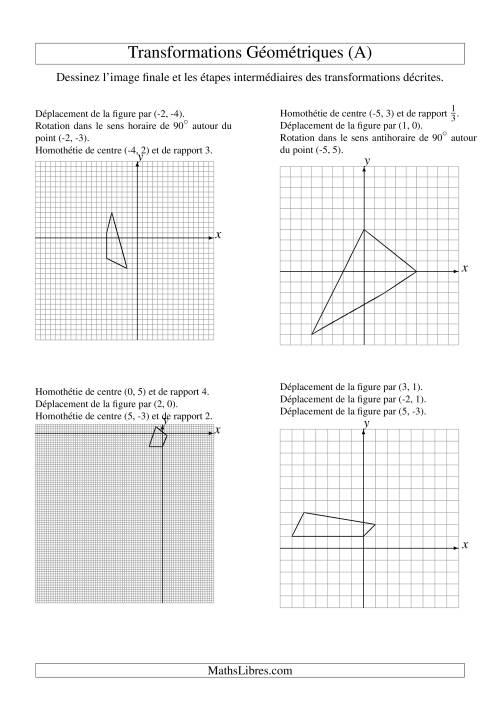La Transformation variées -- Figures à 4 sommets -- 3 étapes (A) Fiche d'Exercices sur la Géométrie