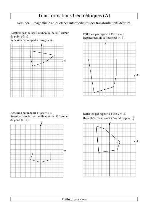 La Transformation variées -- Figures à 5 sommets -- 2 étapes (A) Fiche d'Exercices sur la Géométrie