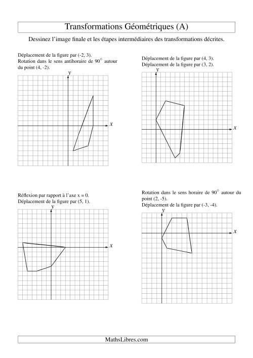 La Transformation variées (sans homothétie) -- Figures à 5 sommets -- 2 étapes (A) Fiche d'Exercices sur la Géométrie