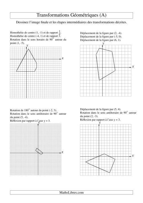 La Transformation variées -- Figures à 5 sommets -- 3 étapes (A) Fiche d'Exercices sur la Géométrie