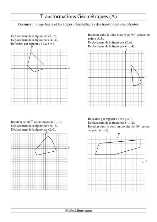 La Transformation variées (sans homothétie) -- Figures à 5 sommets -- 3 étapes (A) Fiche d'Exercices sur la Géométrie