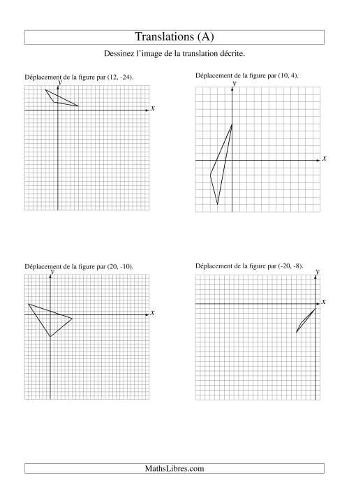 La Translation de figures à 3 sommets -- Max 25 unités (A) Fiche d'Exercices sur la Géométrie