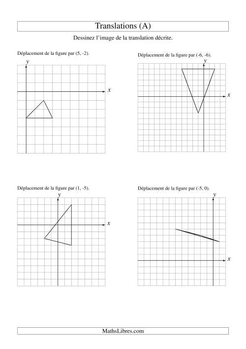 La Translation de figures à 3 sommets -- Max 6 unités (A) Fiche d'Exercices sur la Géométrie