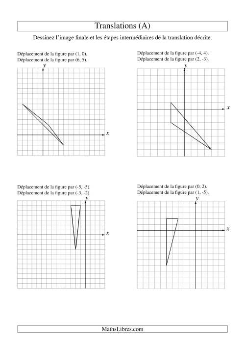 La Translation de figures à 3 sommets -- Max 6 unités -- 2 étapes (A) Fiche d'Exercices sur la Géométrie