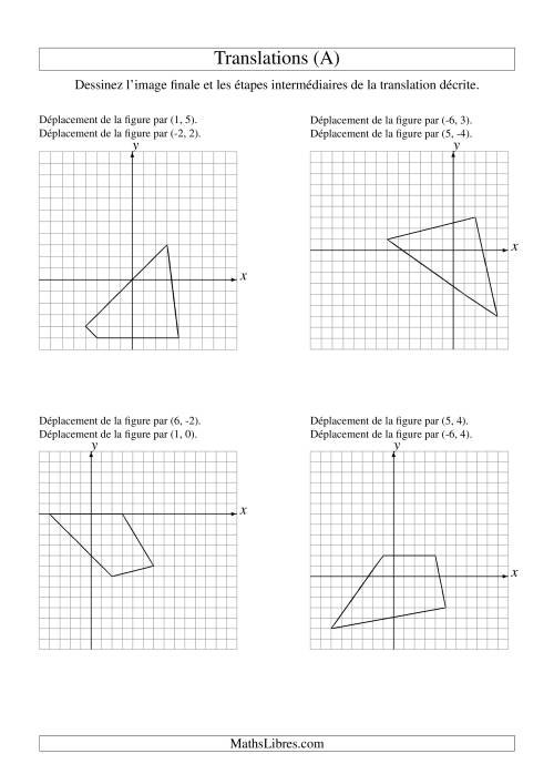 La Translation de figures à 4 sommets -- Max 6 unités -- 2 étapes (A) Fiche d'Exercices sur la Géométrie