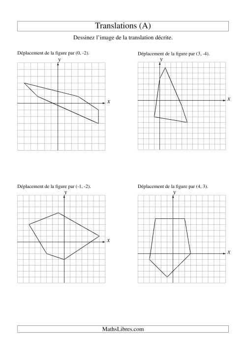 La Translation de figures à 5 sommets -- Max 6 unités (A) Fiche d'Exercices sur la Géométrie