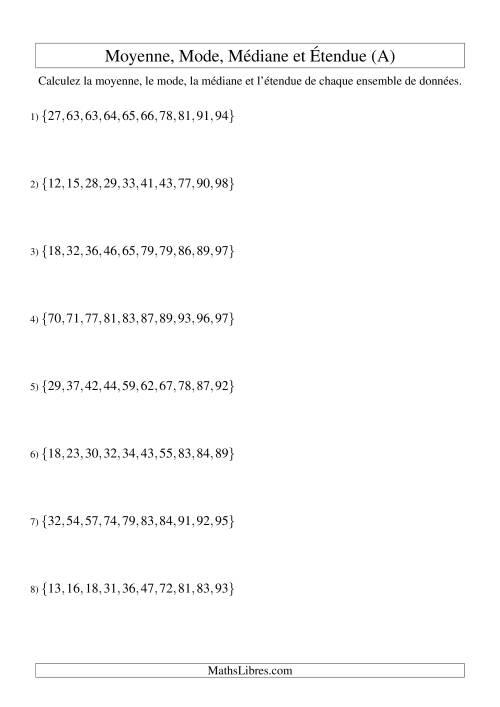 La Moyenne, médiane, mode et étendue -- Ensembles triés (Ensembles de 10 de 10 à 99) (A) Fiche d'Exercices sur la Statisque et Probabilité