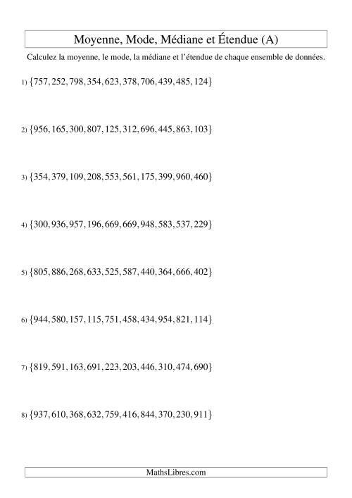La Moyenne, médiane, mode et étendue -- Ensembles non triés (Ensembles de 10 de 100 à 999) (A) Fiche d'Exercices sur la Statisque et Probabilité
