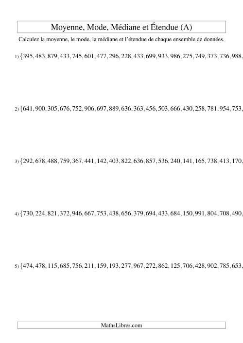 La Moyenne, médiane, mode et étendue -- Ensembles non triés (Ensembles de 15 de 100 à 999) (A) Fiche d'Exercices sur la Statisque et Probabilité